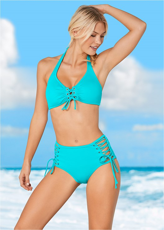 a1b3866abe8d2 Aqua Reef GROMMET LACE UP HALTER TOP from VENUS