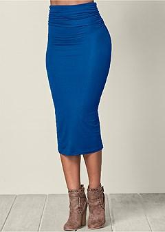 gathered waist long skirt