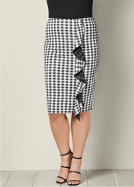 FRONT VIEW Gingham Ruffle Midi Skirt