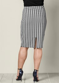 BACK VIEW Gingham Ruffle Midi Skirt