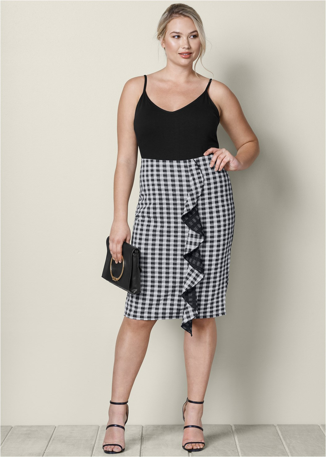 Gingham Ruffle Midi Skirt,High Heel Strappy Sandals