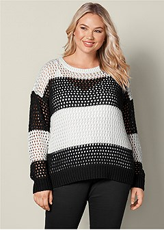 plus size loose knit striped sweater