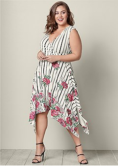 plus size floral printed day dress