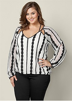plus size embroidered mesh v-neck top