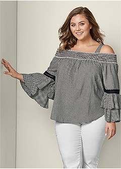 plus size ruffle sleeve gingham top