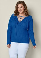 plus size lace up ruffle sweater
