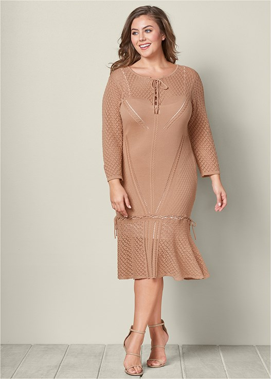 Plus Size Lace Up Sweater Dress Venus