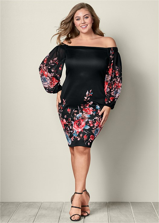 Plus Size FLORAL PRINT BODYCON DRESS | VENUS