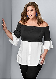 plus size mixed media button up top