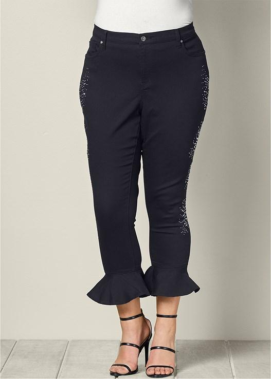 Plus Size Studded Ruffle Hem Jeans In Black Venus