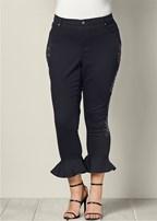 plus size studded ruffle hem jeans
