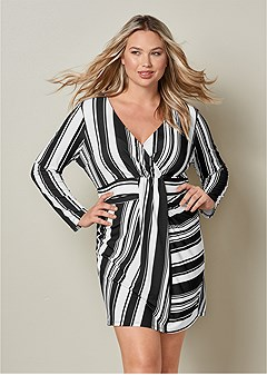 plus size stripe bodycon dress