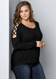 Plus Size Sleeve Detail Top