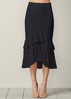 lace ruffle midi skirt