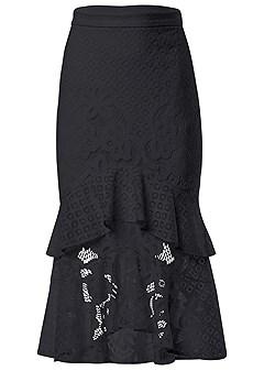 plus size lace ruffle midi skirt