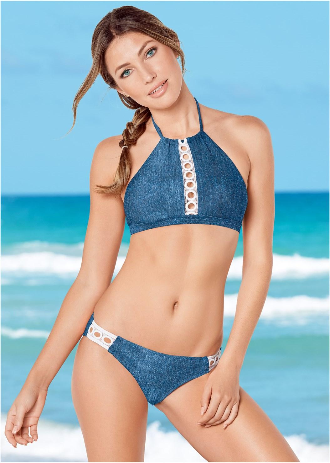 Eyelet Detail Sport Top,Eyelet Trim Bikini Bottom,Scoop Front Classic Bikini Bottom ,String Side Bikini Bottom,Hoodie Cover-Up