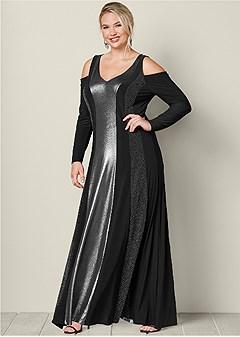 plus size metallic long dress