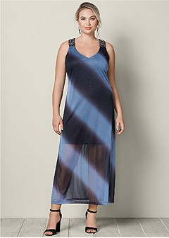 plus size crystal trim maxi dress
