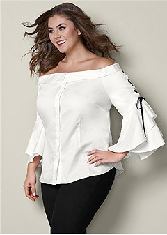 plus size lace up ruffle sleeve top