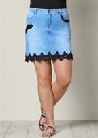 plus size lace detail jean skirt