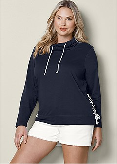 plus size side lace up sweatshirt