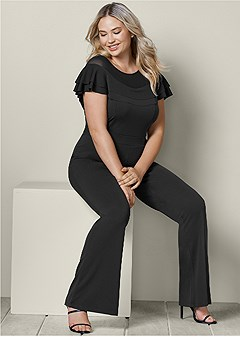 plus size ruffle detail jumpsuit