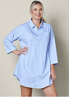 plus size button down sleep dress