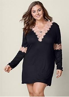 plus size lace detail sleep dress