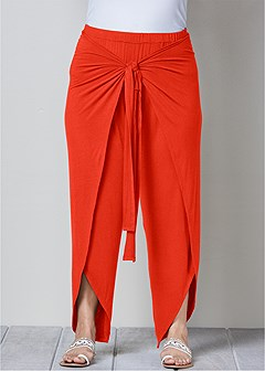 plus size belted wrap front pants