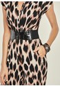 ALTERNATE VIEW Belted Print Jumpsuit