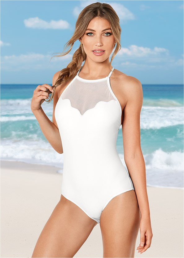 Scalloped Mesh One-Piece,Overlap Cover-Up Dress