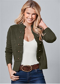 tab button detail cardigan