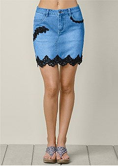 lace detail jean skirt
