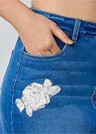 Alternate View Lace Detail Jean Skirt
