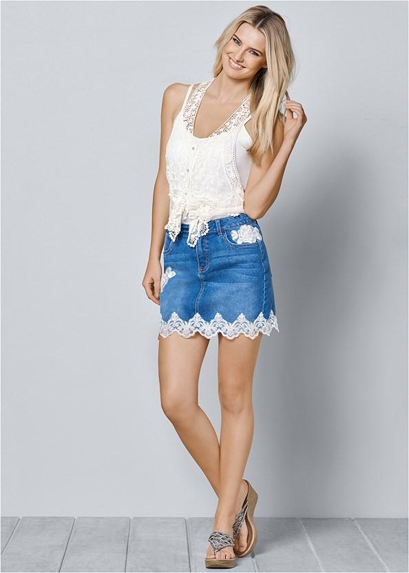 Lace Detail Jean Skirt,Embellished Wedges