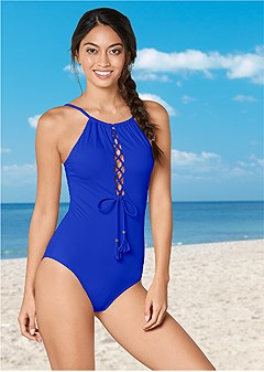 high neck lace up one-piece