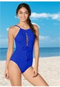 Front View High Neck Lace Up One-Piece