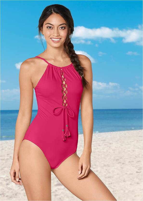 High Neck Lace Up One-Piece,Crochet Detail Cover-Up