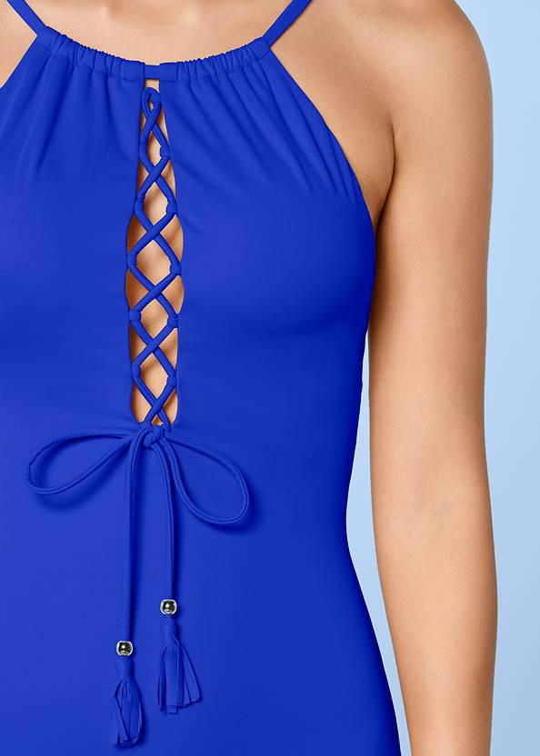 Alternate View High Neck Lace Up One-Piece