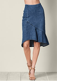 ruffle detail jean skirt