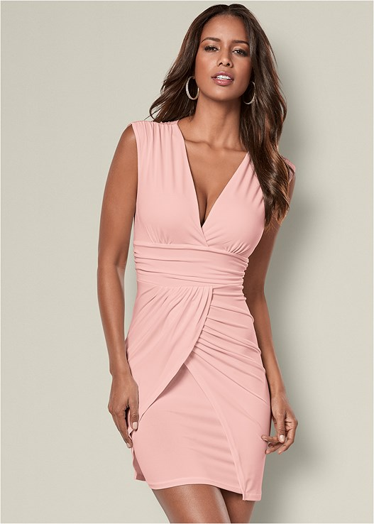 DRAPE DETAIL DRESS,HIGH HEEL STRAPPY SANDAL