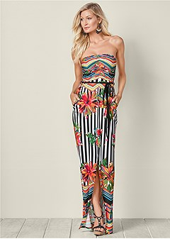 striped printed maxi dress