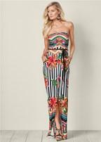 striped printed maxi dress