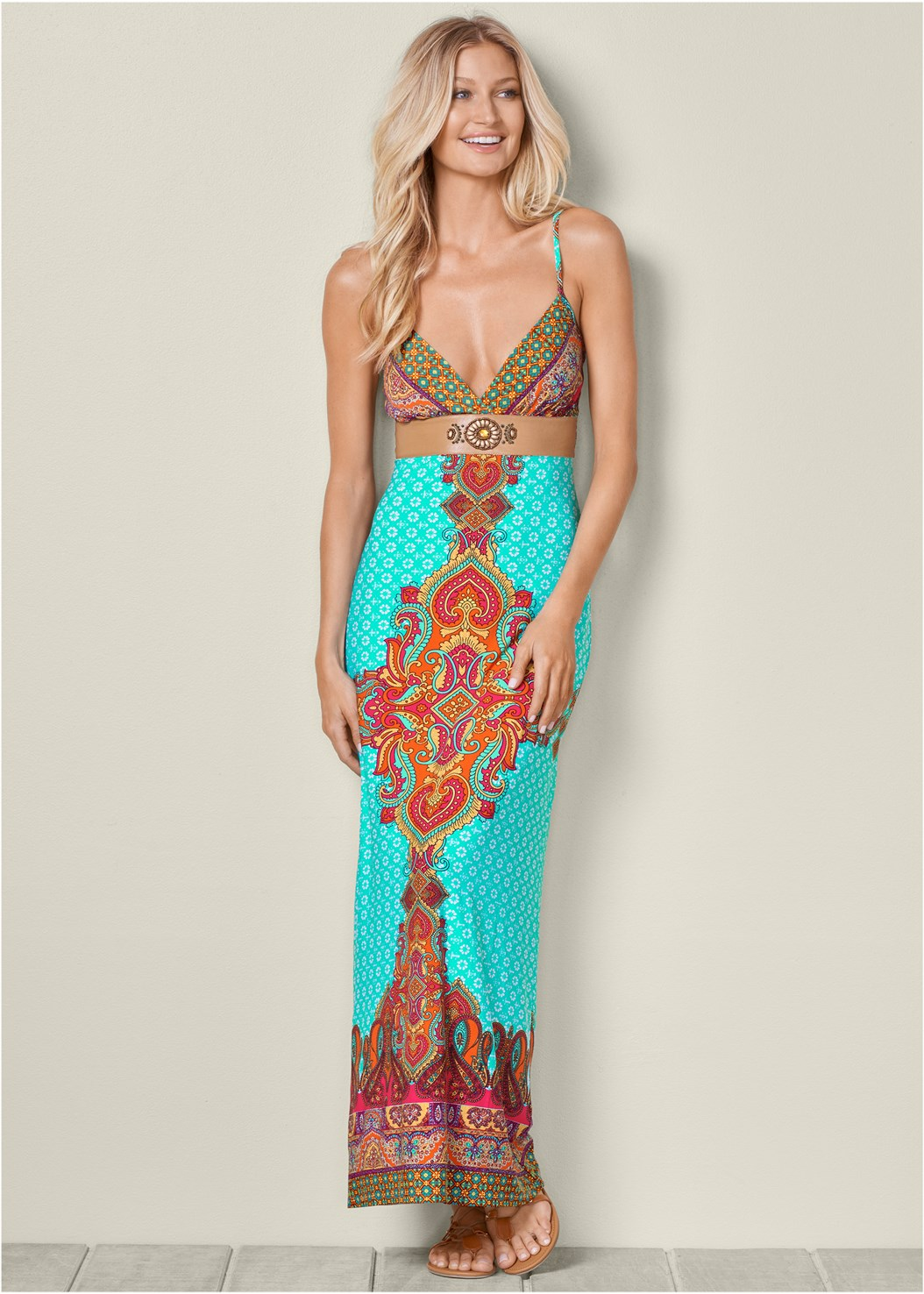 Printed Maxi Dress,Cupid Backless Lace Up Bra
