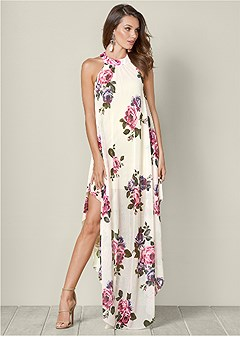 printed mesh long dress