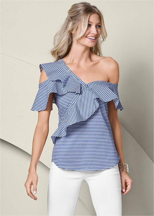 COLD SHOULDER RUFFLE TOP,SLIMMING STRETCH JEGGINGS,RAFFIA DETAIL HEELS