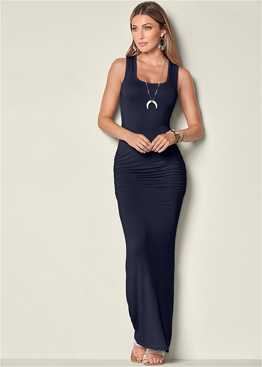 RUCHED TANK MAXI DRESS,EVERYDAY YOU STRAPLESS BRA