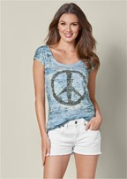 embellished peace sign top