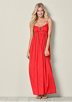 lace up maxi dress