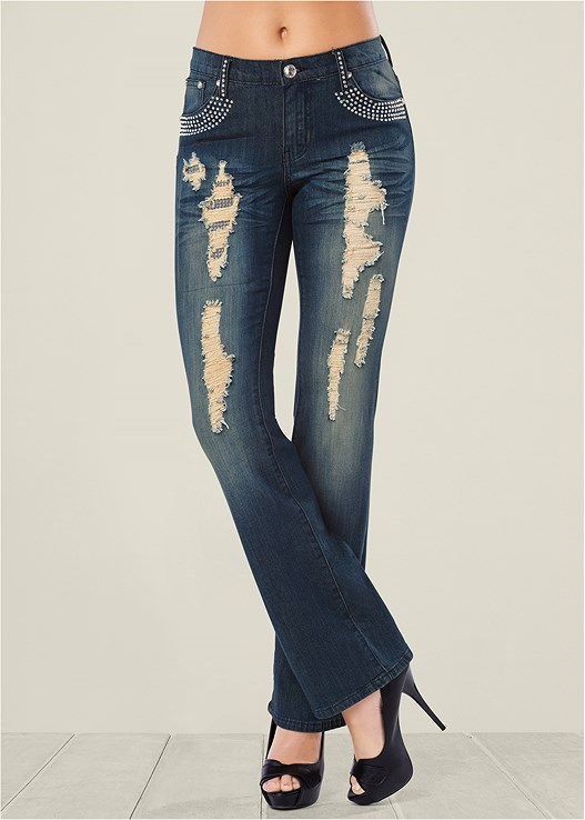 EMBELLISHED JEANS,SEAMLESS CAMI